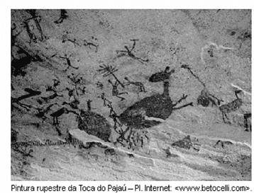 A pintura rupestre mostrada na figura anterior, que é um patrimônio  cultural brasileiro, expressa 45c1e70074