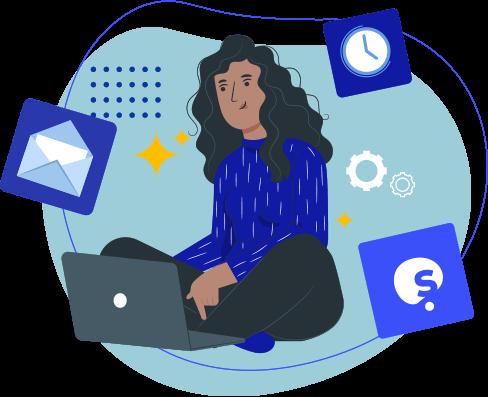 Ilustração de estudante estudando no computador