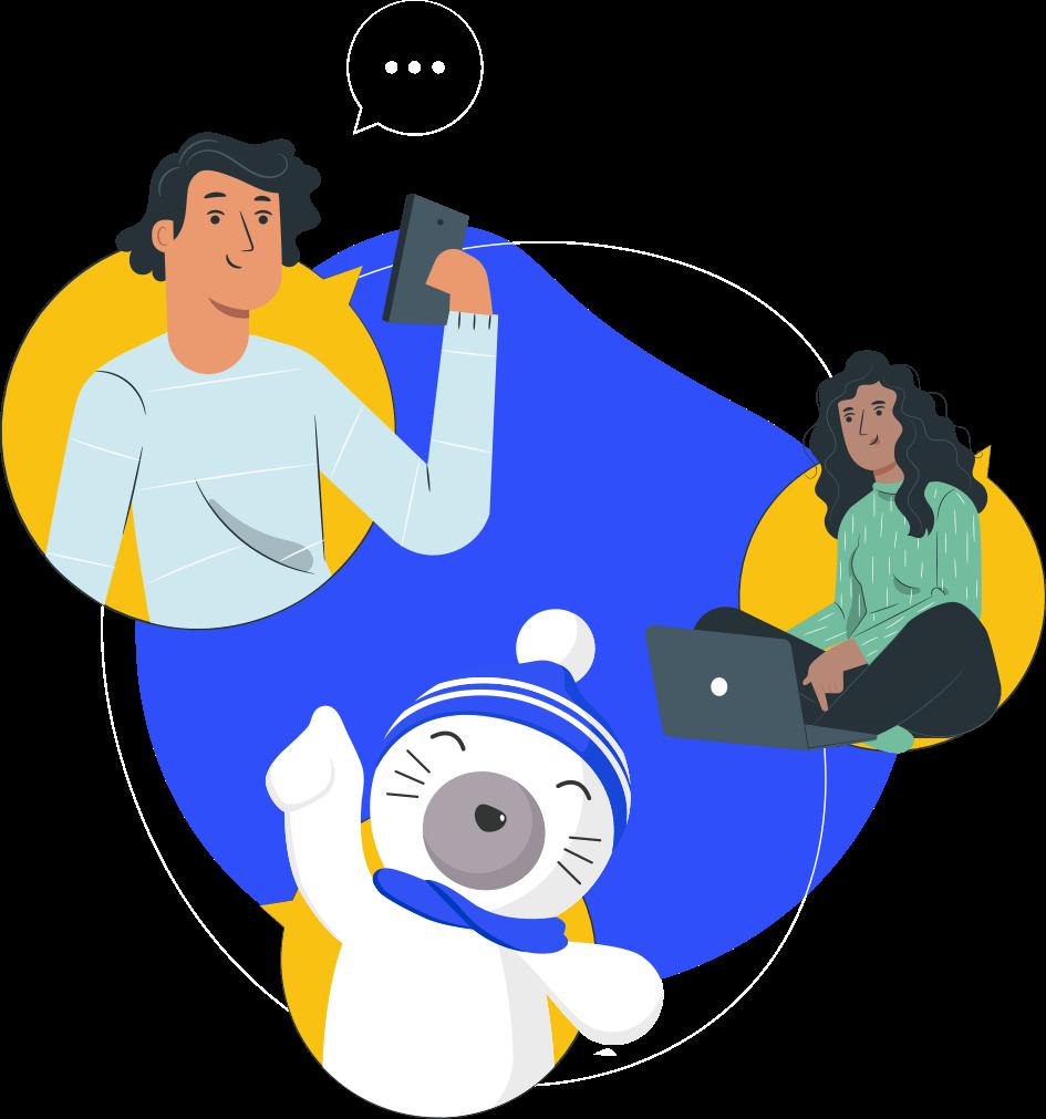 Ilustração mostrando uma pessoa estudando pelo celular, outra estudando pelo computador e o mascote do Stoodi apontando para cima
